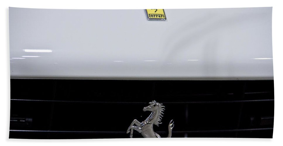 Motor Beach Towel featuring the photograph White Ferrari-emblem And Gril by Eti Reid