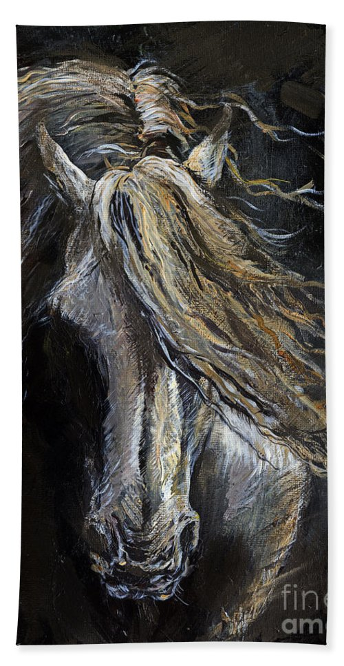 Horse Beach Towel featuring the painting White Ghost by Angel Ciesniarska