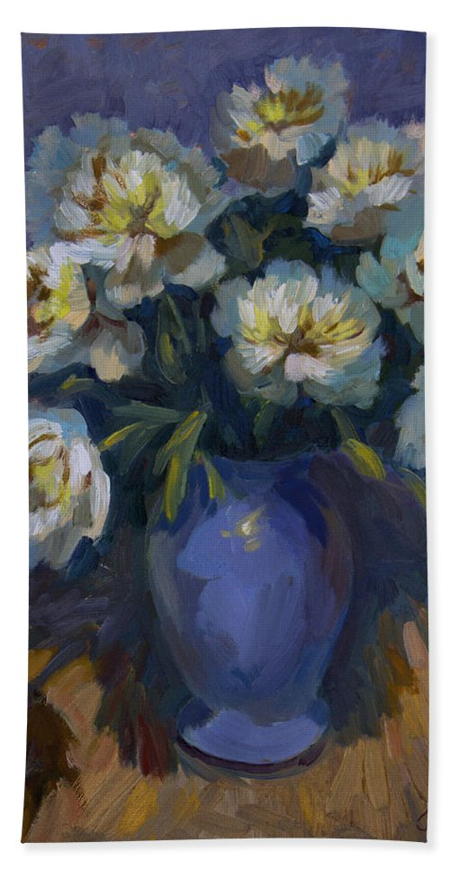 White Peonies Beach Towel featuring the painting White Peonies by Diane McClary