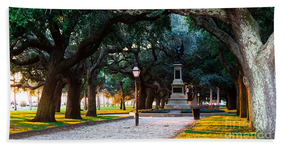 Charleston Beach Towel featuring the photograph White Point Garden Walkway Charleston Sc by Donnie Whitaker