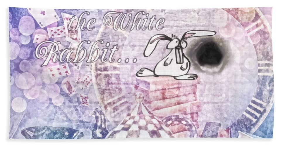 White Rabbit Beach Towel featuring the painting White Rabbit by Mo T