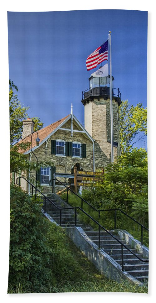 Art Beach Towel featuring the photograph White River Lighthouse In Whitehall Michigan No.057 by Randall Nyhof