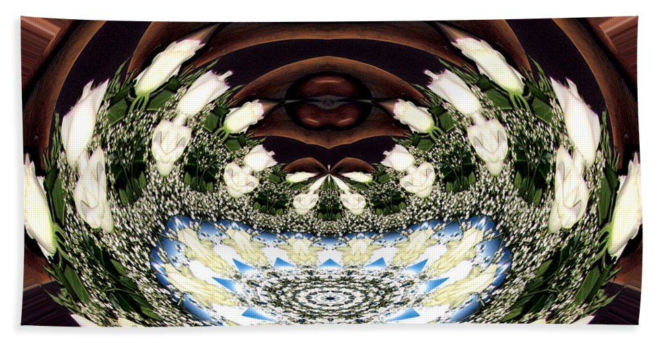 Baby's Breath Beach Towel featuring the photograph White Roses And Babys Breath Polar Coordinates Effect by Rose Santuci-Sofranko