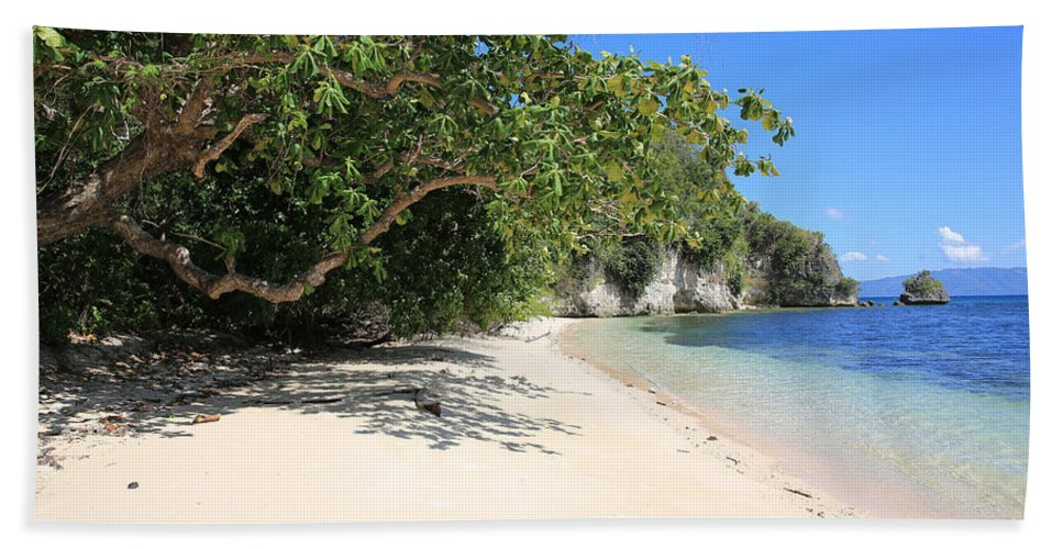 White Sand Beach Towel featuring the photograph White Sand And Blue Sky by Paul Ranky