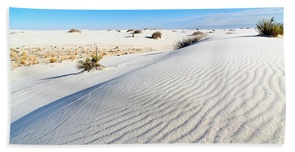 White Beach Towel featuring the photograph White Sands - Morning View White Sands National Monument In New Mexico. by Jamie Pham