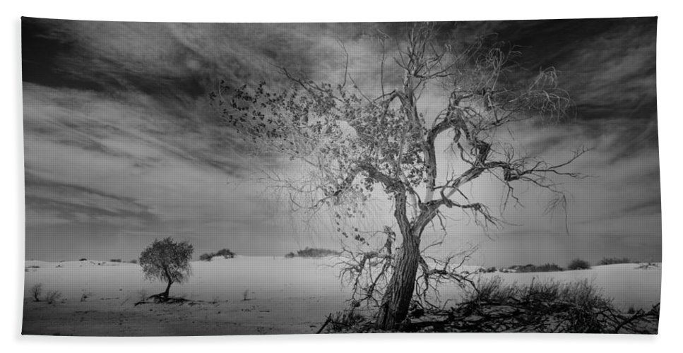 White Sands Beach Towel featuring the photograph White Sands National Monument 1 Dark Mono by Gareth Burge Photography