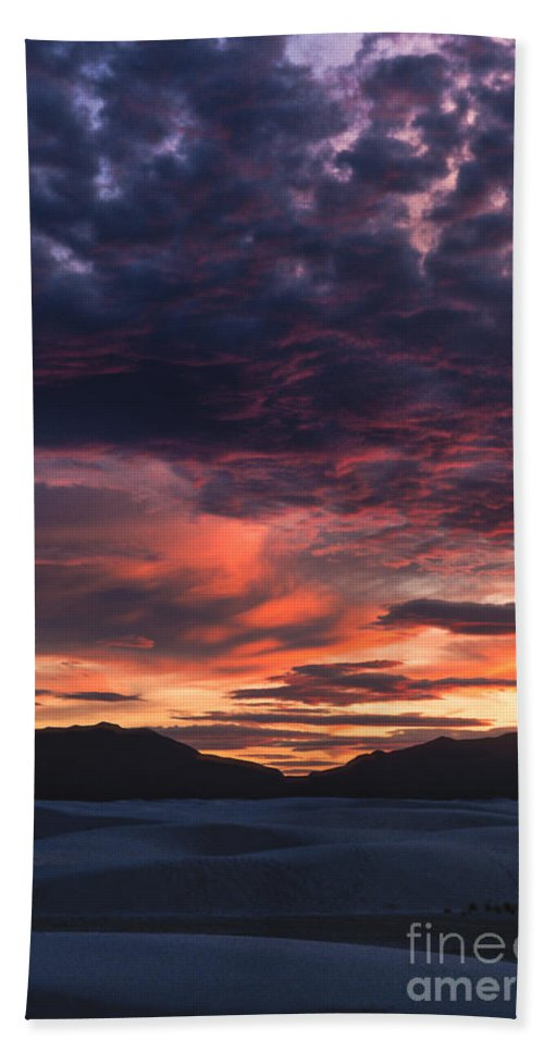White Sands Beach Towel featuring the photograph White Sands Sunset by Sandra Bronstein