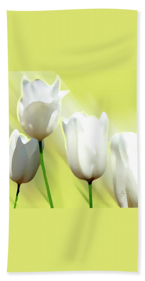 Spring Bloom Beach Towel featuring the photograph White Tulips by Ben and Raisa Gertsberg