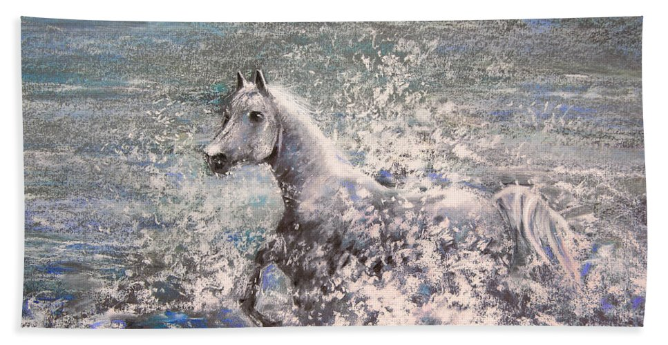 Wild Horse Beach Towel featuring the painting White Wild Horse by Miki De Goodaboom