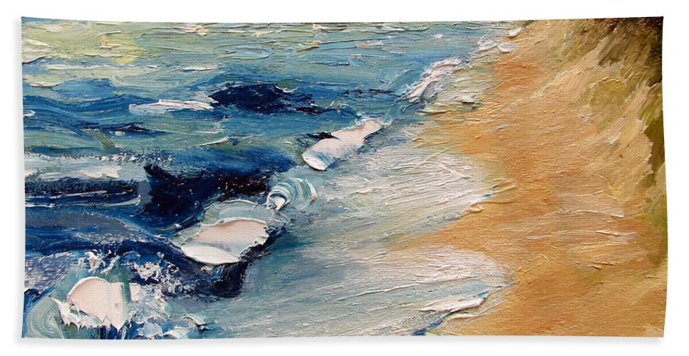 Whitecaps Beach Towel featuring the painting Whitecaps On Lake Michigan 3.0 by Michelle Calkins