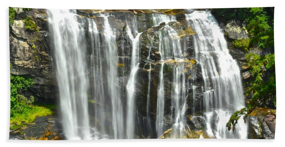 White Beach Towel featuring the photograph Whitewater Falls by Frozen in Time Fine Art Photography