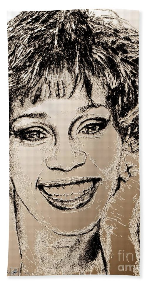 Whitney Beach Towel featuring the digital art Whitney Houston In 1992 by J McCombie