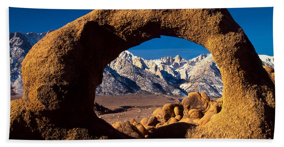 Alabama Hills Beach Towel featuring the photograph Whitney Portal by Inge Johnsson
