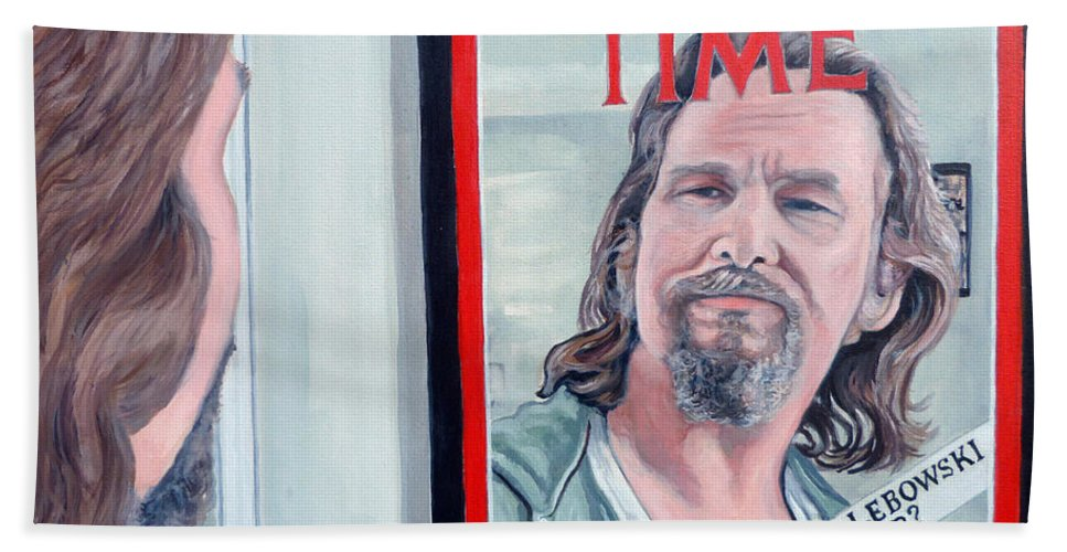 The Dude Beach Towel featuring the painting Who Is This Guy by Tom Roderick