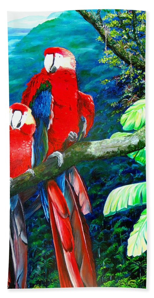 Caribbean Painting Green Wing Macaws Red Mountains Birds Trinidad And Tobago Birds Parrots Macaw Paintings Greeting Card  Beach Sheet featuring the painting Who Me  by Karin Dawn Kelshall- Best
