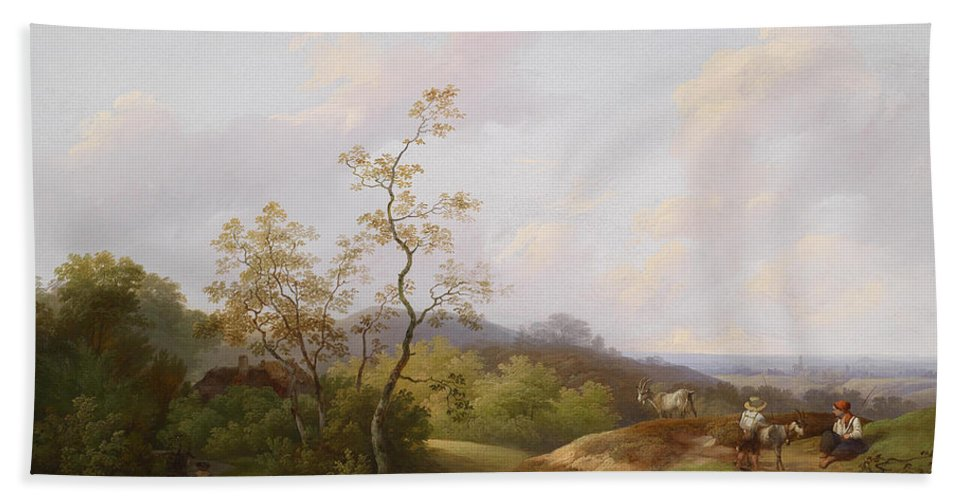 Ignaz Raffalt Beach Towel featuring the painting Wide Landscape With Shepherds by Ignaz Raffalt