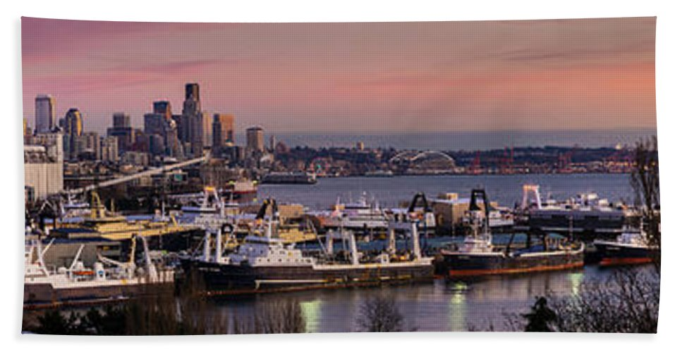 Seattle Beach Towel featuring the photograph Wider Seattle Skyline And Rainier At Sunset From Magnolia by Mike Reid