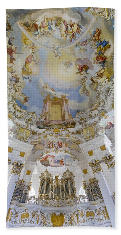 Organ And Ceiling Beach Towel featuring the photograph Wieskirche Organ And Ceiling by Jenny Setchell
