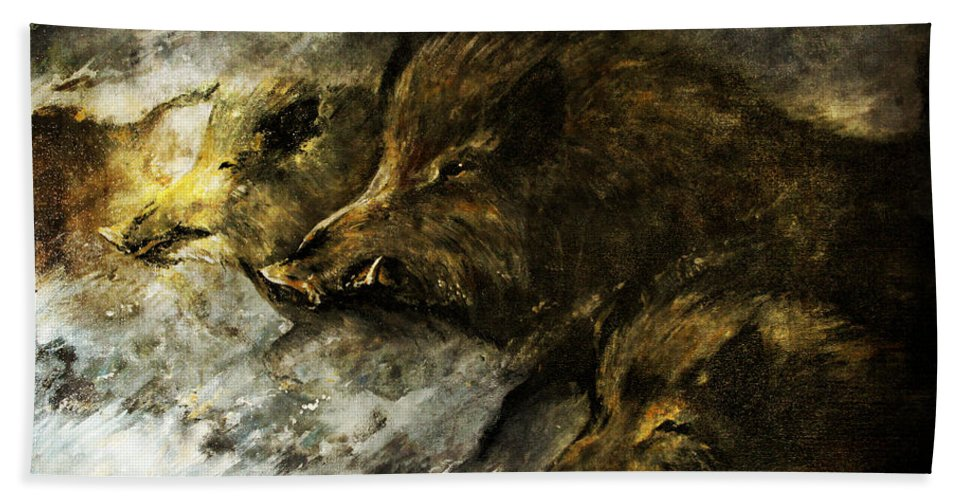 Wild Boars Beach Towel featuring the painting Wild Boars Running Across The Snow by Angel Ciesniarska