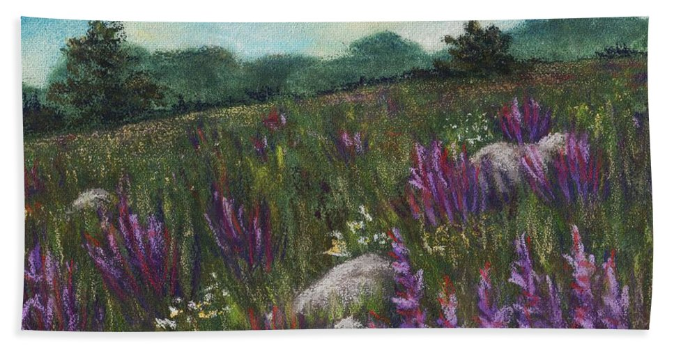 Calm Beach Towel featuring the painting Wild Flower Field by Anastasiya Malakhova