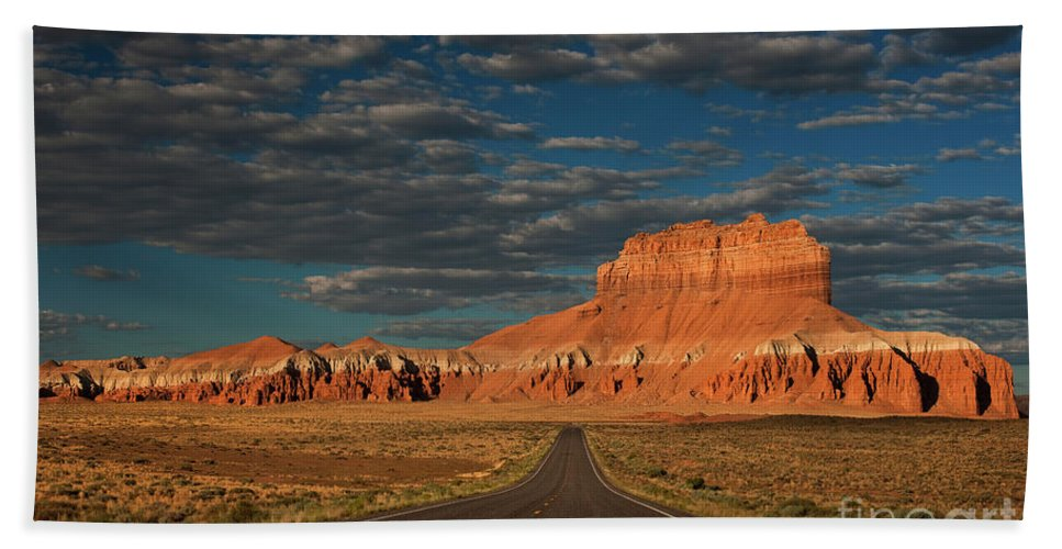 North America Beach Towel featuring the photograph Wild Horse Butte And Road Goblin Valley Utah by Dave Welling