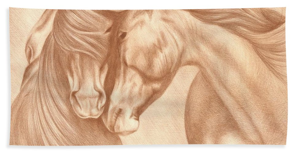 Horse Drawing Beach Towel featuring the drawing Wild Love by Genevieve Desy