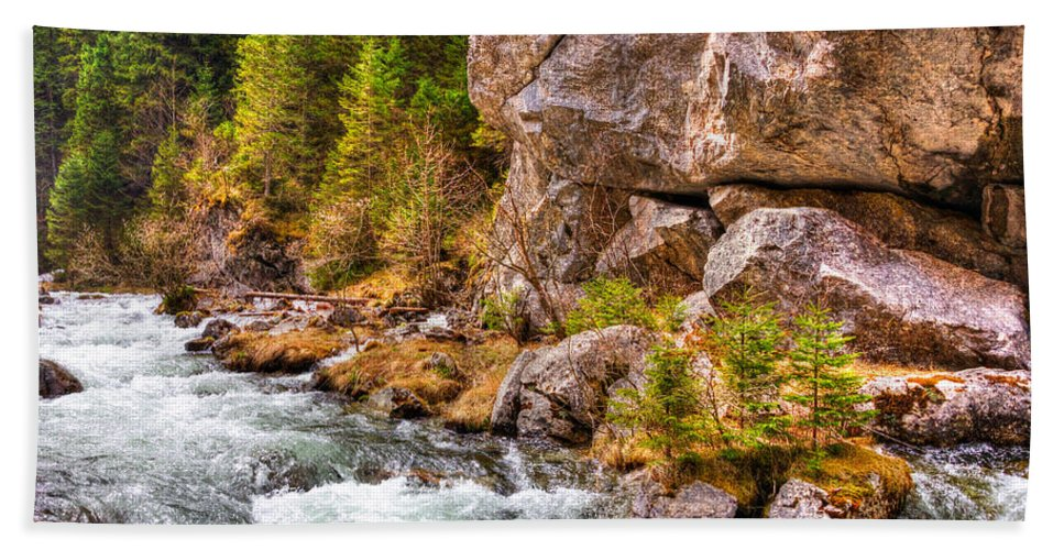 Hdr Beach Towel featuring the photograph Wild Mountain River by Pati Photography