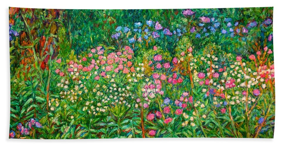 Floral Beach Towel featuring the painting Wildflowers Near Fancy Gap by Kendall Kessler