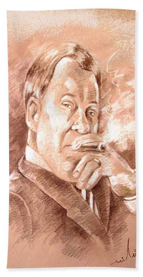 Portrait William Shatner Beach Towel featuring the painting William Shatner as Denny Crane in Boston Legal by Miki De Goodaboom