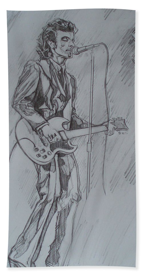 Pencil Beach Sheet featuring the drawing Mink Deville - Steady Drivin' Man by Sean Connolly