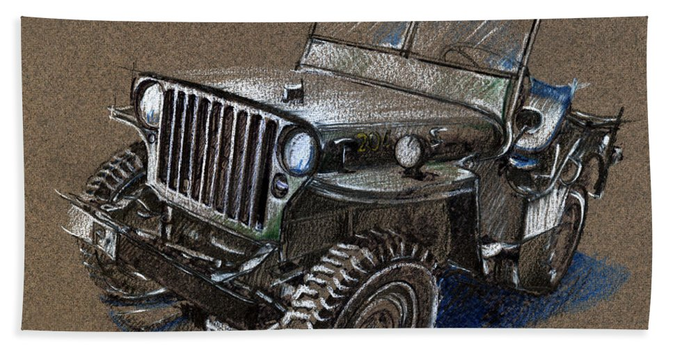 Vintage Car Study Beach Towel featuring the drawing Willys Car Drawing by Daliana Pacuraru