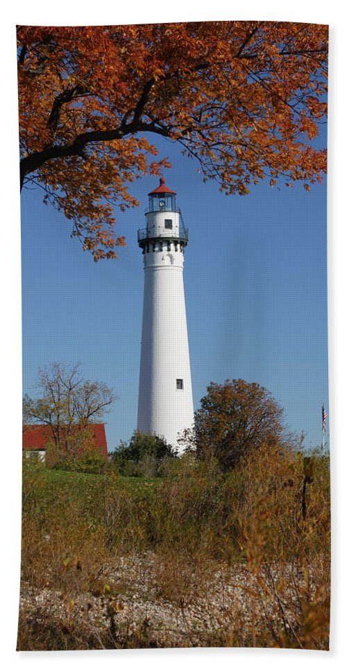 Wind Beach Towel featuring the photograph Wind Point Lighthouse 74 by John Brueske