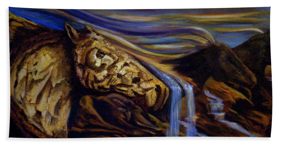Horses Beach Towel featuring the painting Wind Runner by Sue Stake