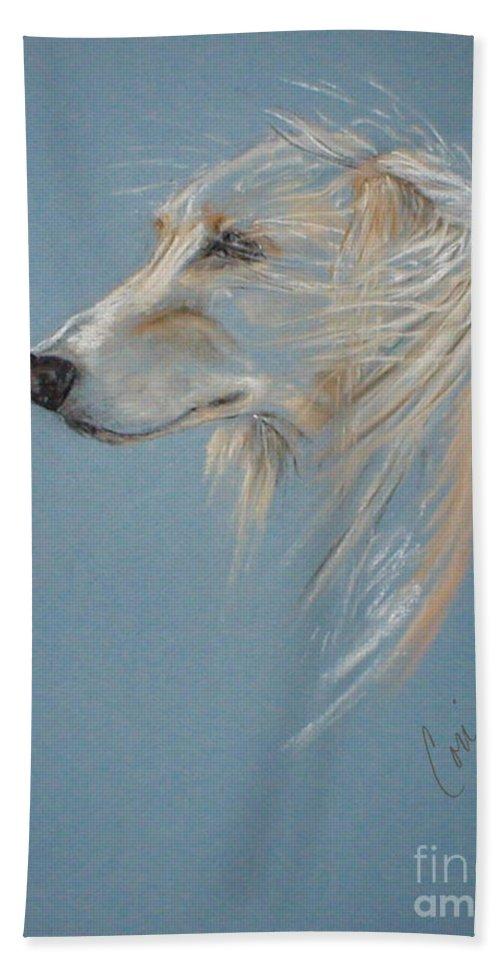 Saluki Beach Towel featuring the drawing Windhound by Cori Solomon