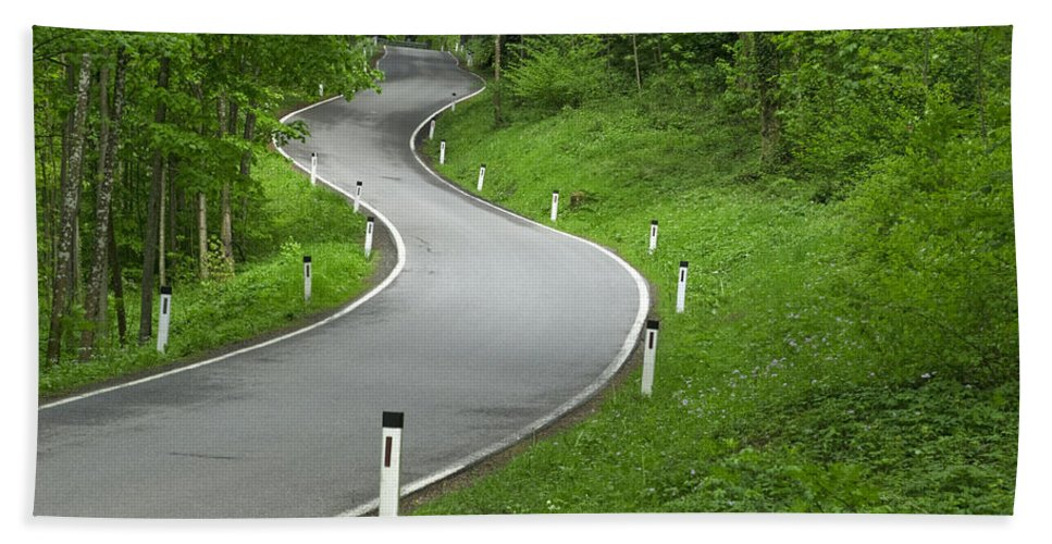 Road Beach Towel featuring the photograph Winding Road In The Woods by Chevy Fleet