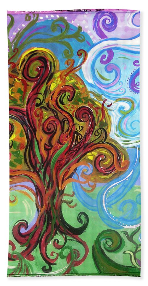 Tree Beach Towel featuring the painting Winding Tree by Genevieve Esson