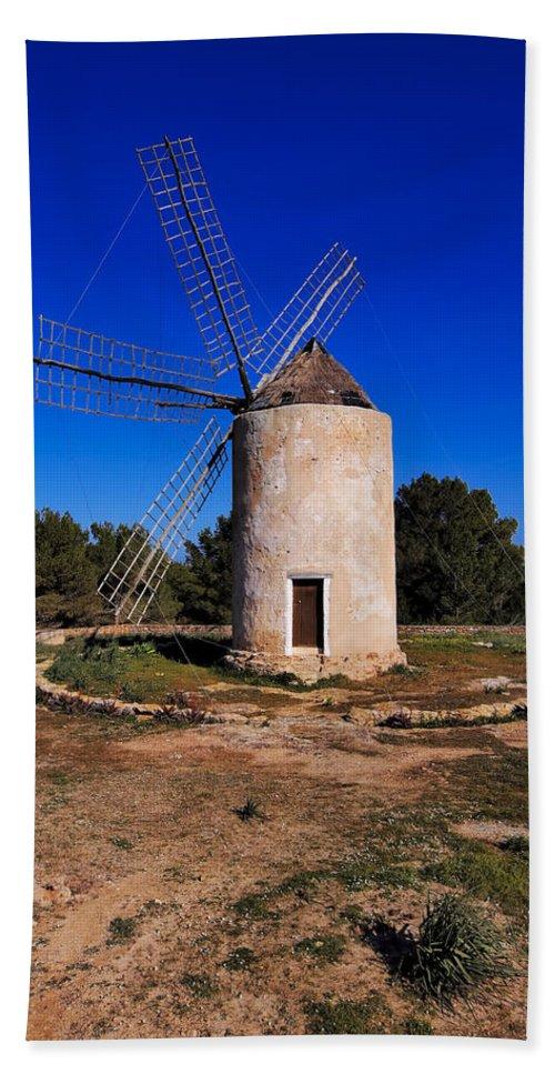 Windmill Beach Towel featuring the photograph Windmill In El Pilar De La Mola On Formentera by Karol Kozlowski