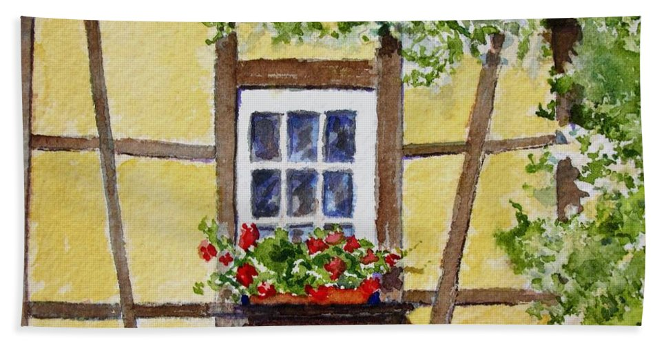 Window Beach Towel featuring the painting Window Alsace by Mary Ellen Mueller Legault