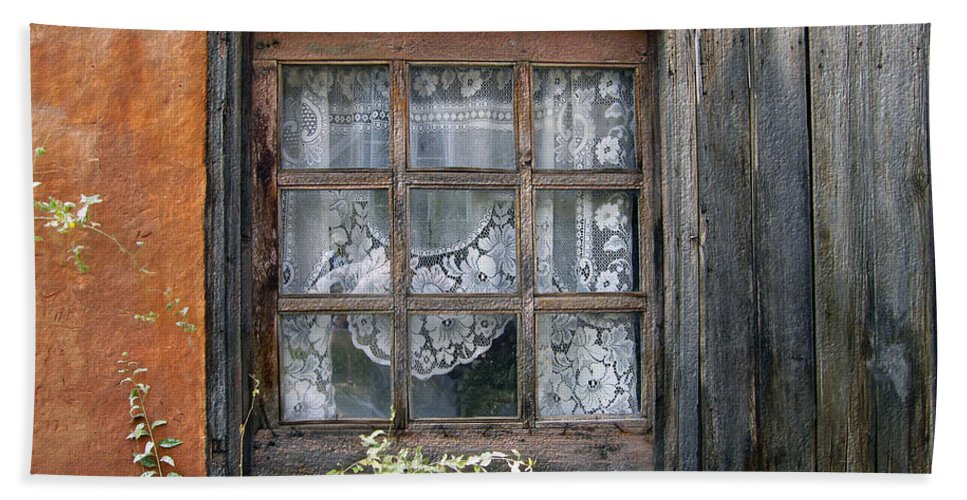 Window Beach Towel featuring the photograph Window At Old Santa Fe by Kurt Van Wagner