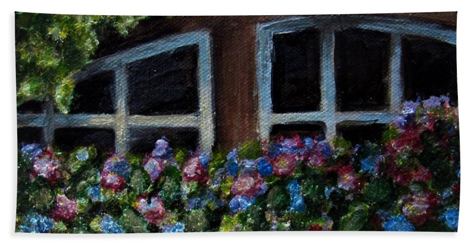 Window Box Beach Towel featuring the painting Window Box Wonder by Laurie Morgan