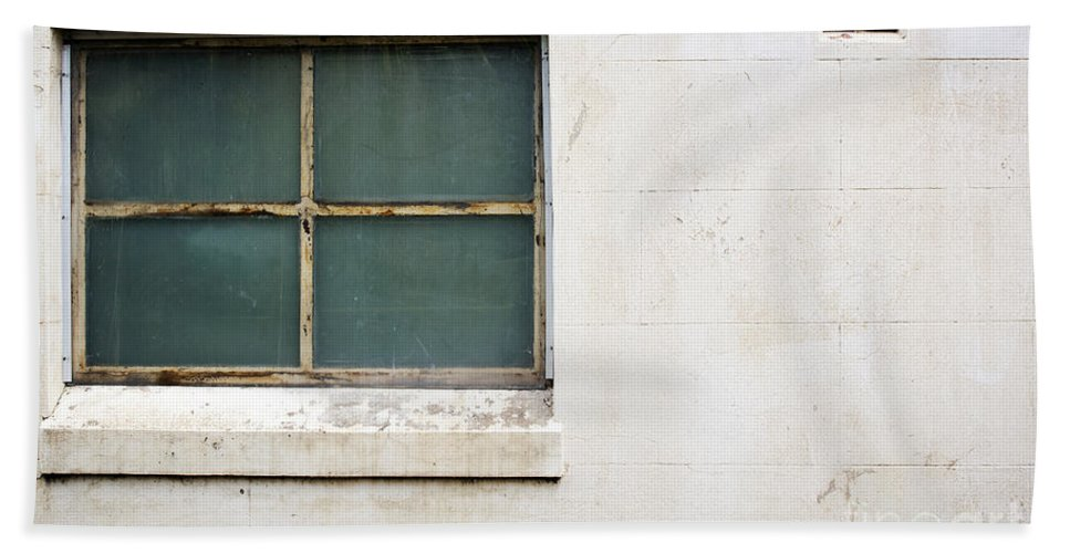 Concrete Wall Beach Towel featuring the photograph Window On Concrete by Tim Hester