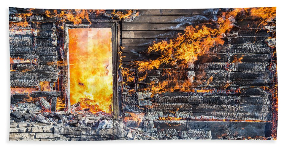 Ash Beach Towel featuring the photograph Window Thru The Depth Of Firey Fury by Andrew Slater