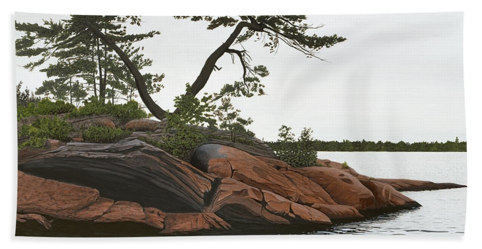 Landscape Paintings Beach Towel featuring the painting Windswept by Kenneth M Kirsch