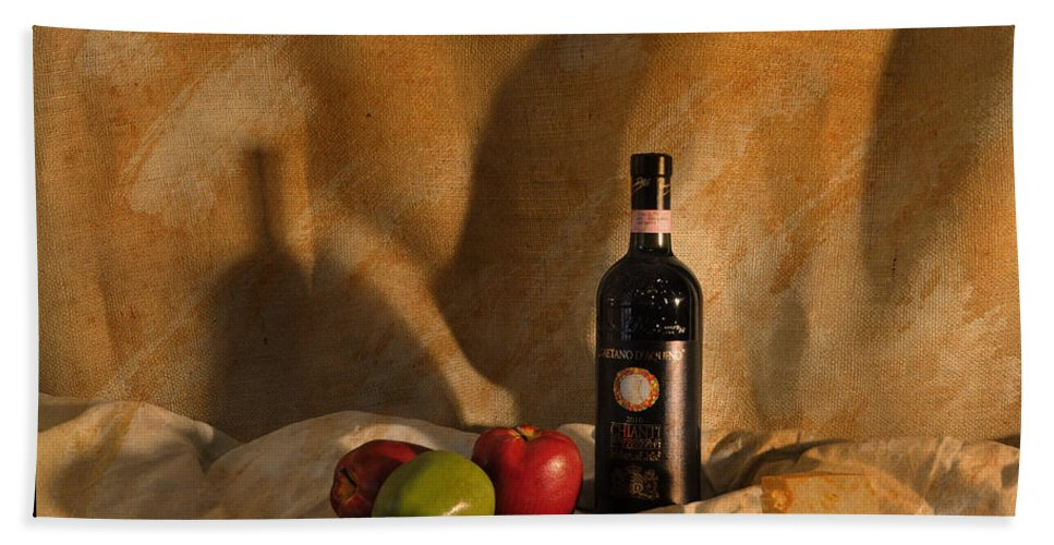 Feature Art Beach Towel featuring the photograph Wine Apples And Cheese by Paulette B Wright