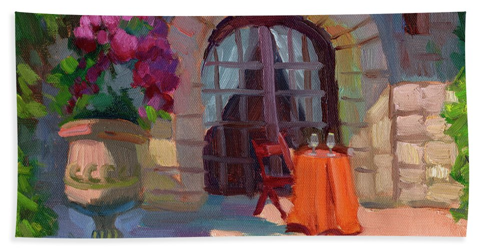 Wine For Two Beach Towel featuring the painting Wine For Two by Diane McClary