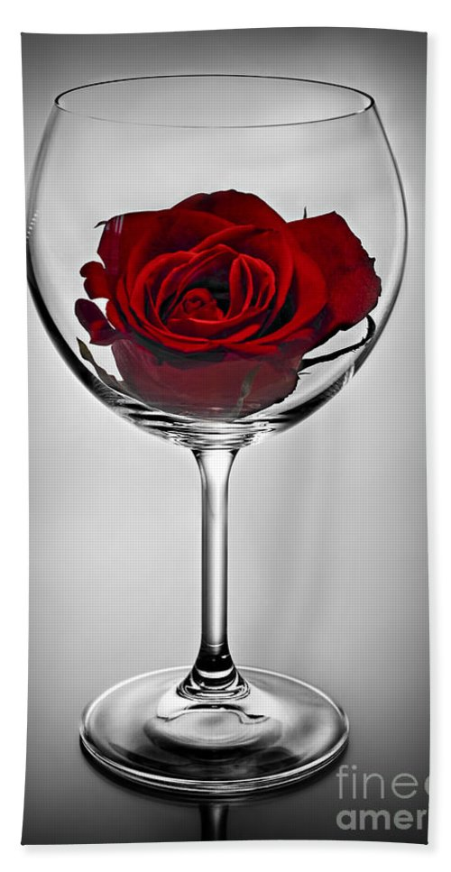 Glass Beach Towel featuring the photograph Wine Glass With Rose by Elena Elisseeva