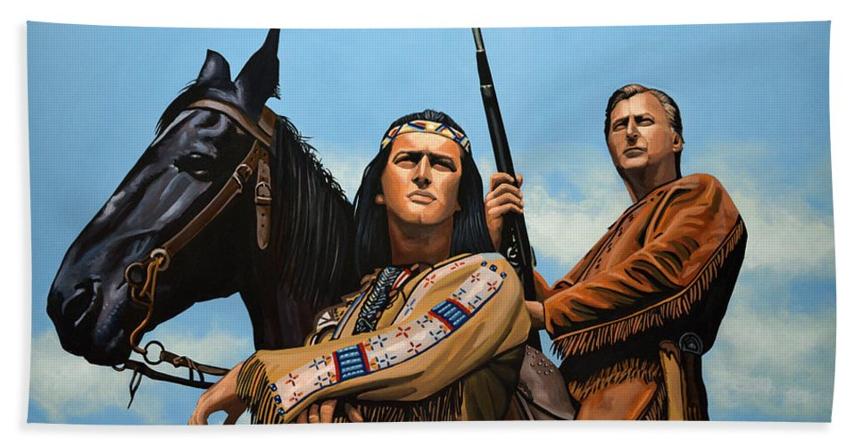 Winnetou Beach Towel featuring the painting Winnetou And Old Shatterhand by Paul Meijering