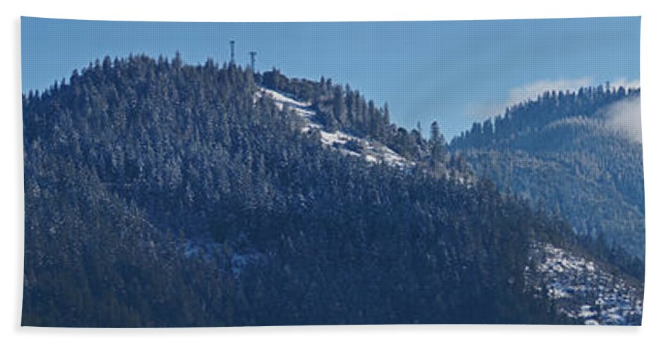 Panorama Beach Towel featuring the photograph Winter And Mt Baldy Panorama by Mick Anderson