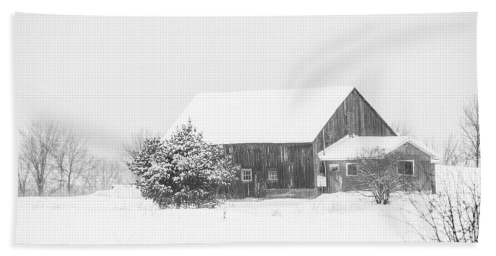 Beach Towel featuring the photograph Winter Barn by Cheryl Baxter