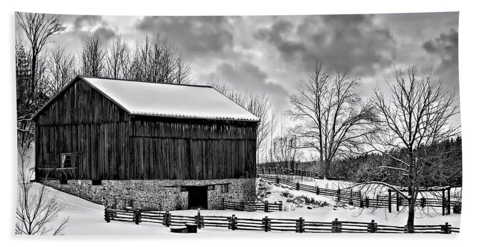 Barn Beach Towel featuring the photograph Winter Barn Monochrome by Steve Harrington